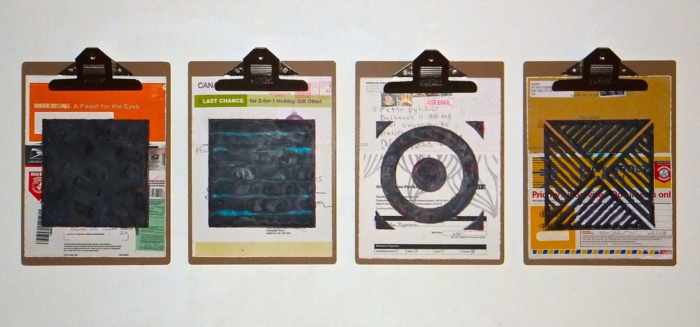 "Art World #2, 2014, encaustic, mixed media collage on paper, mounted on 4 commercial clipboards 13"" × 39"", set of clipboards depicted counts as one artwork, 300 CAD"