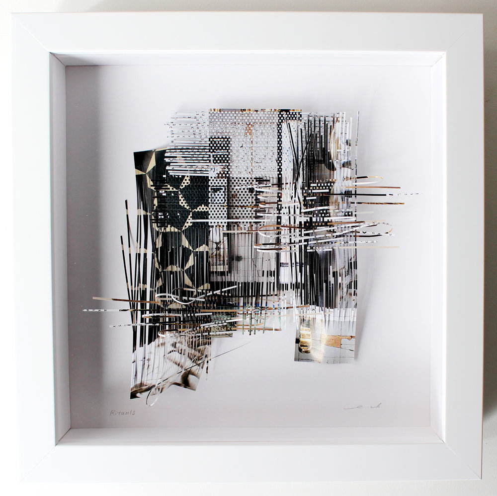 """Rituals, 2017, recycled magazine, 10"""" x 10"""" (framed), 490CAD"""