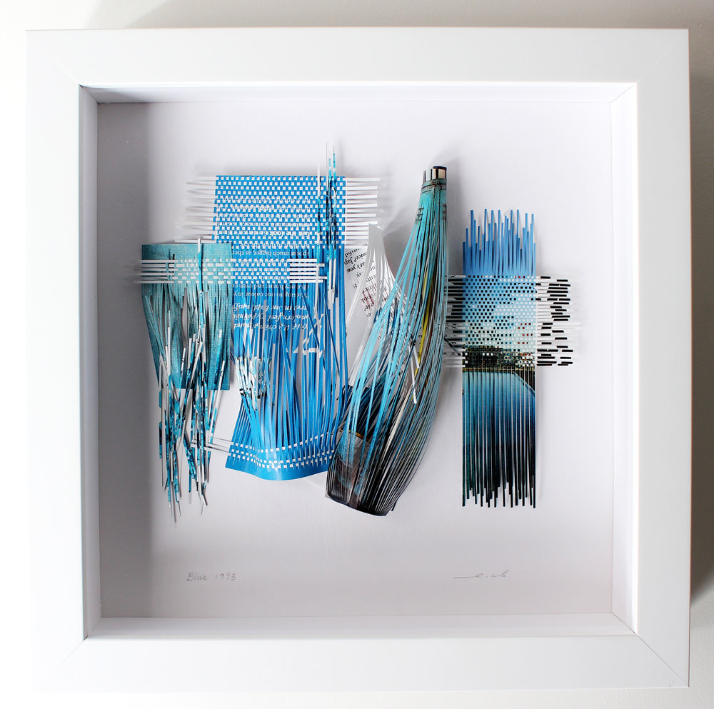"""Blue 1993, 2017, recycled magazine, 10"""" x 10"""" (framed), 490CAD"""