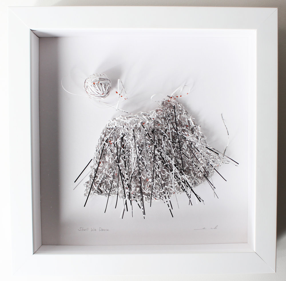"""Shell We Dance, 2017, recycled magazine, 10"""" x 10"""" (framed), 490CAD"""