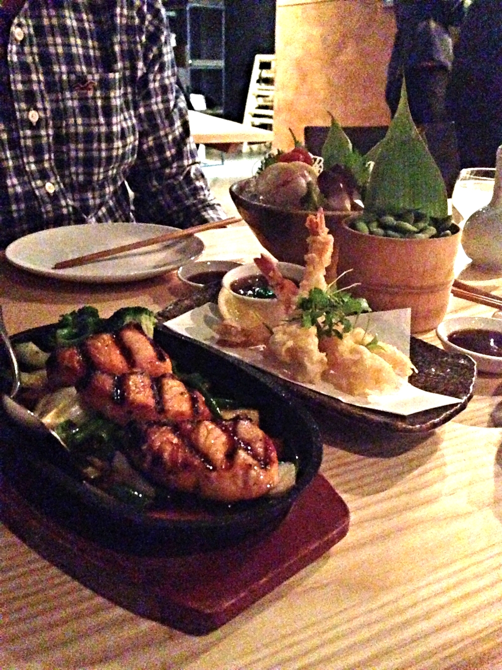 Teriyaki salmon and tempura prawns at Yama Momo