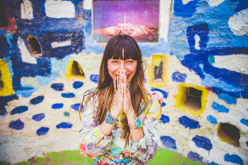 Myrah at Salvation Mountain in the deserts of California