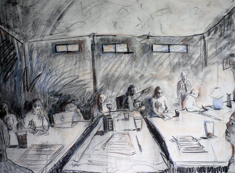 Charcoal illustration of the Burlington Writers Workshop, by Amanda Vella.