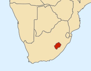 Lesotho shown in red.