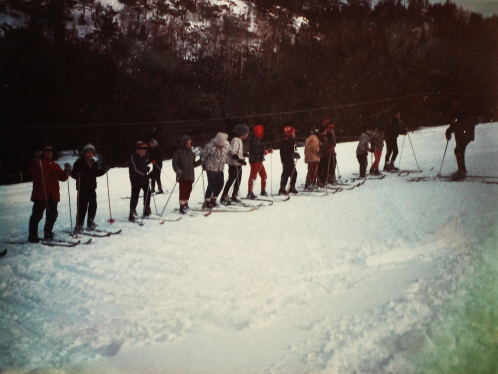 Getting in line at Otis ski hill. Courtesy of Jeff Allott.