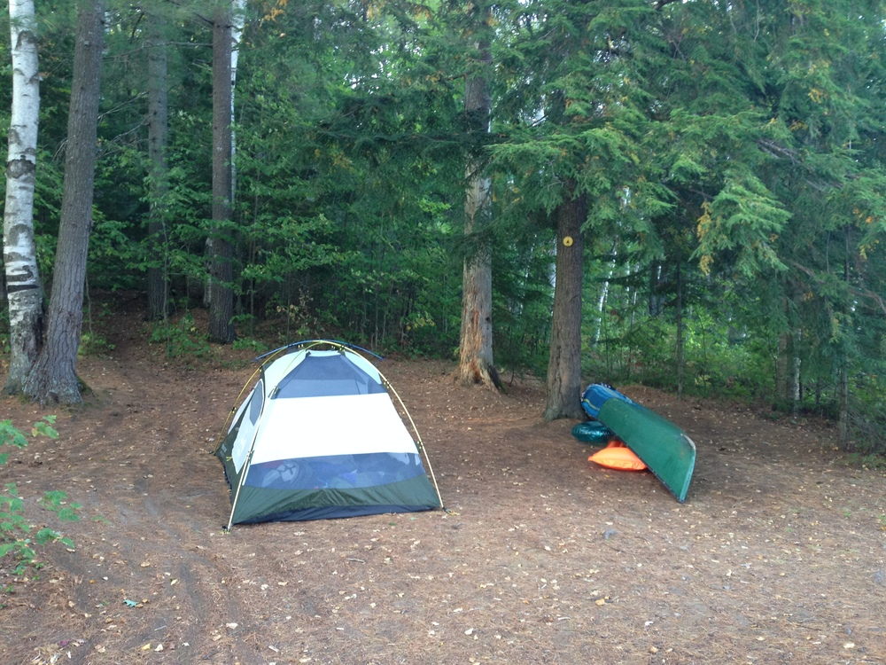 Take two. Our second campsite, with our Marmot tent, canoe...and some fun floats peeking out.