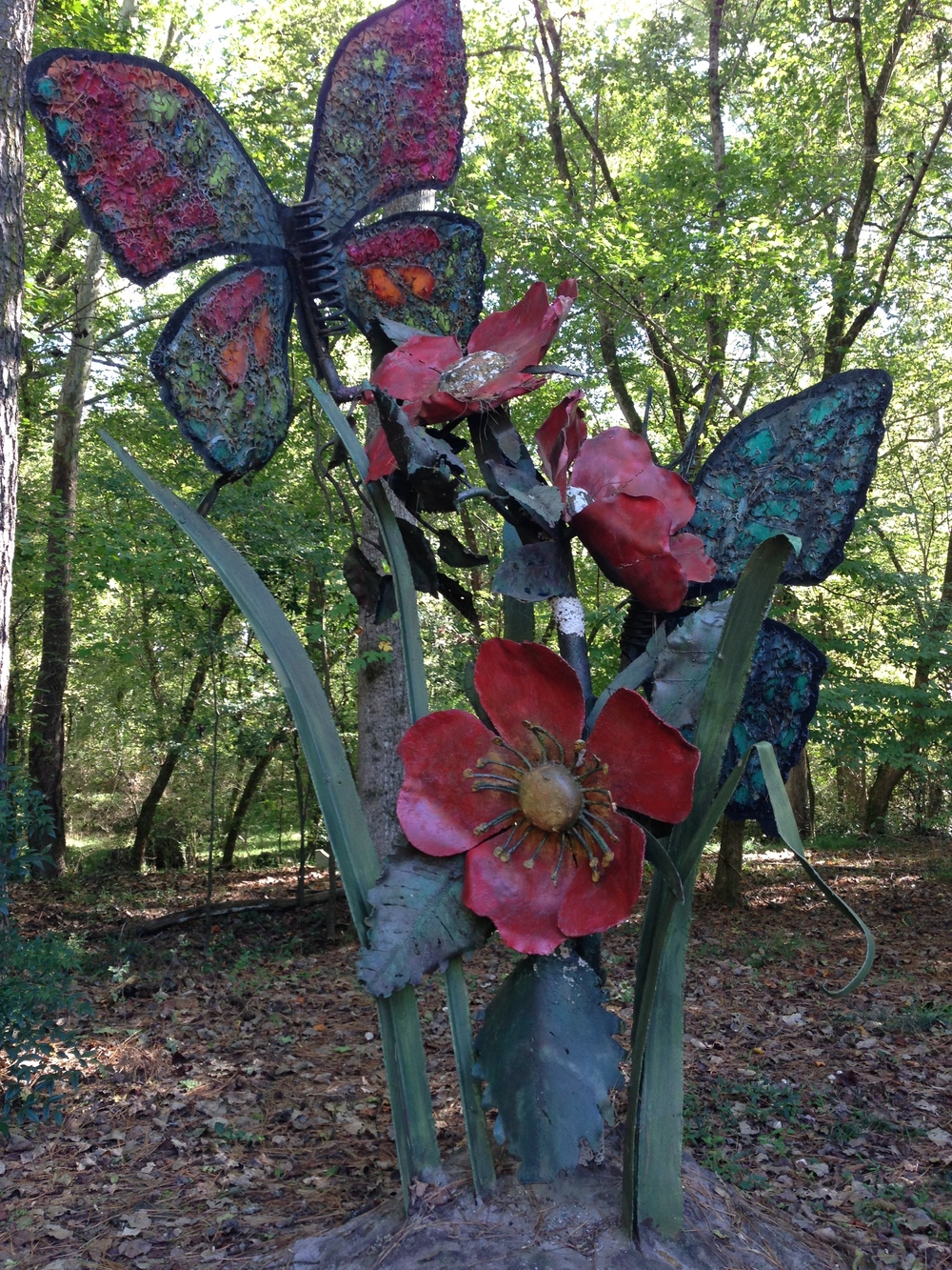 Sculpture near the trailhead.