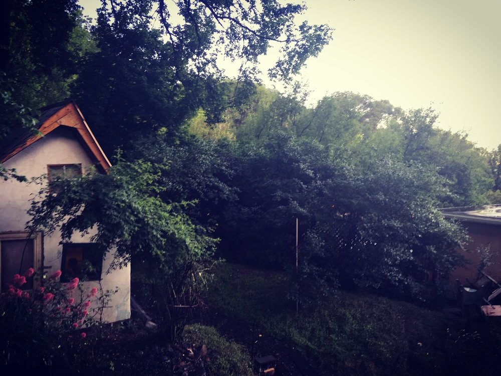 A dark mist settles over the Gingerbread House after a thunderstorm. It's been hot this month  (90+ and sunny nearly every day) so any rain is a welcome relief. I love the afternoon storms that pass through.
