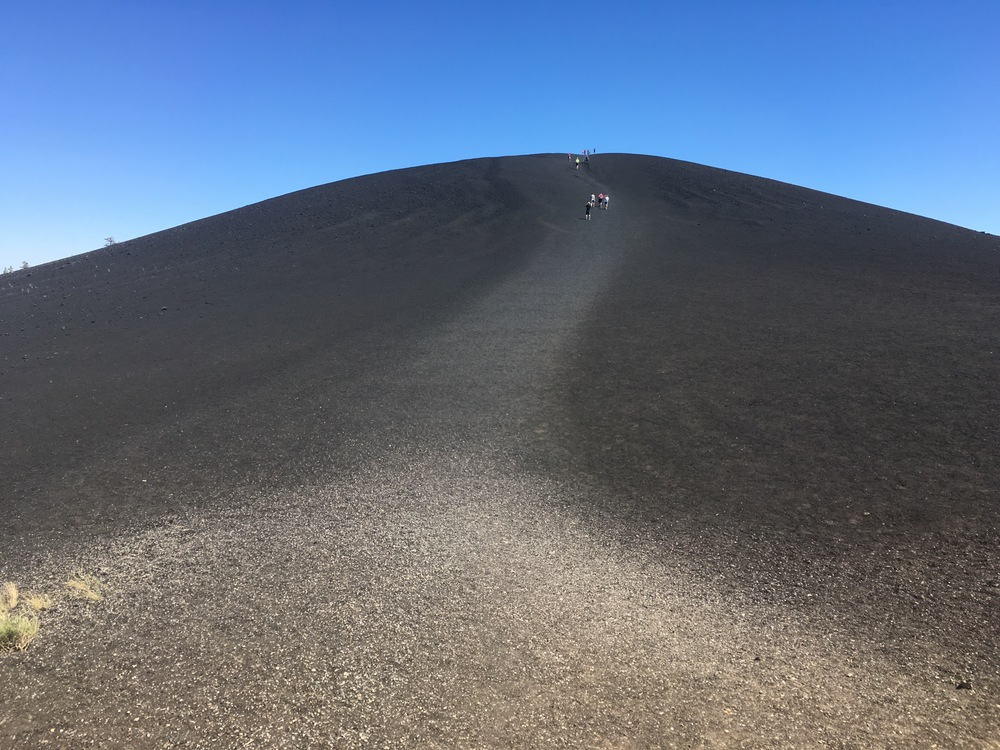 Ascending the Inferno Cone, extinct cinder cone.