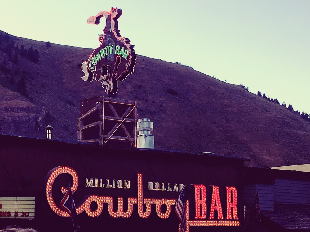 Million Dollar Cowboy Bar, Jackson, WY, in operation since the 1890s. The likes of Waylon Jennings, Hank Williams, and Willie Nelson have performed here.