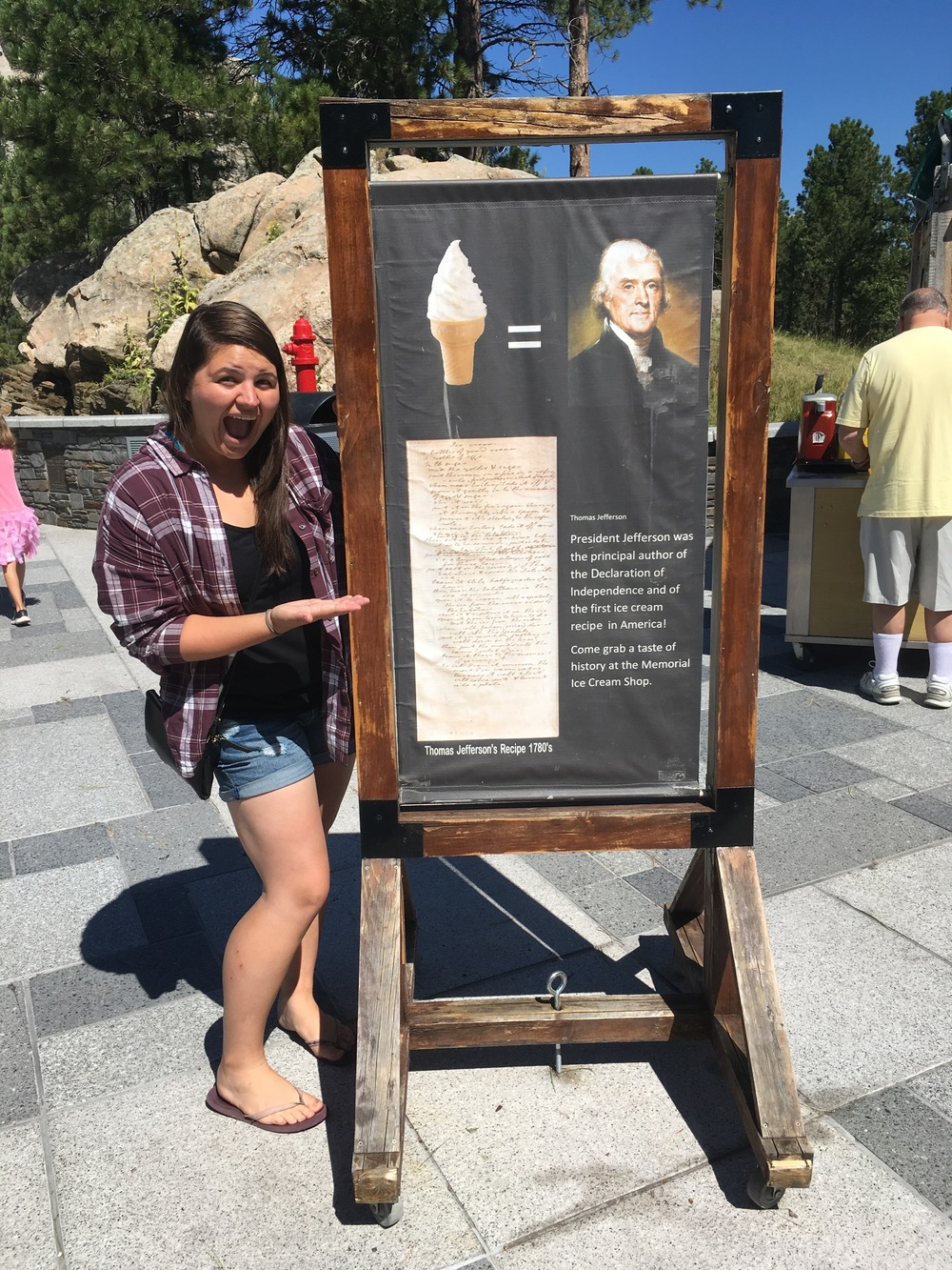 Kara poses with our favorite sign of the trip: Ice cream= Thomas Jefferson. Apparently he was the first person in America to write down a recipe for vanilla ice cream?