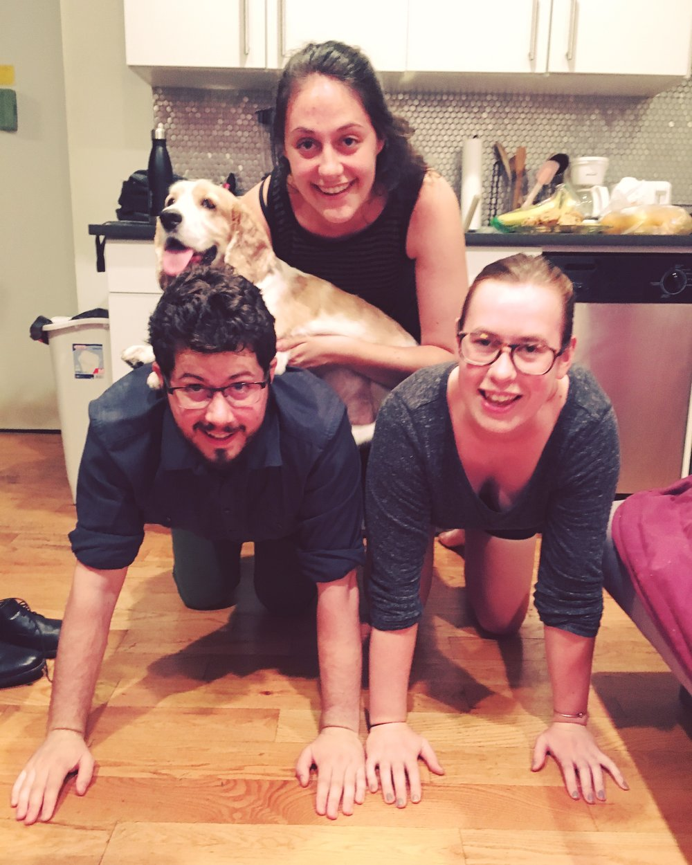 Human-dog pyramid aka, apartment boredom