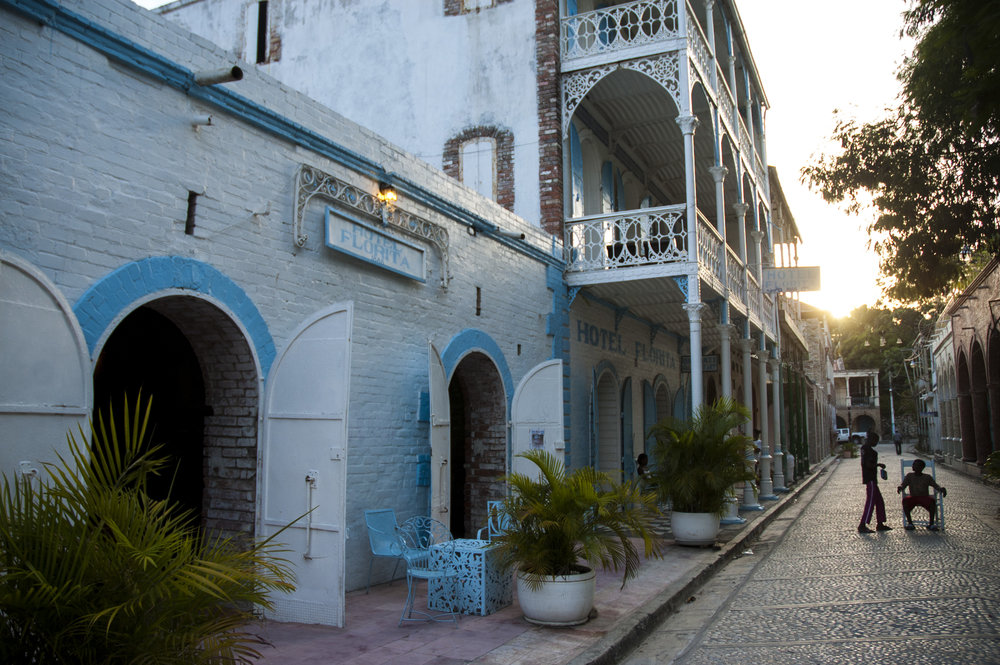 Cobblestone and French Colonial architecture in Jacmel