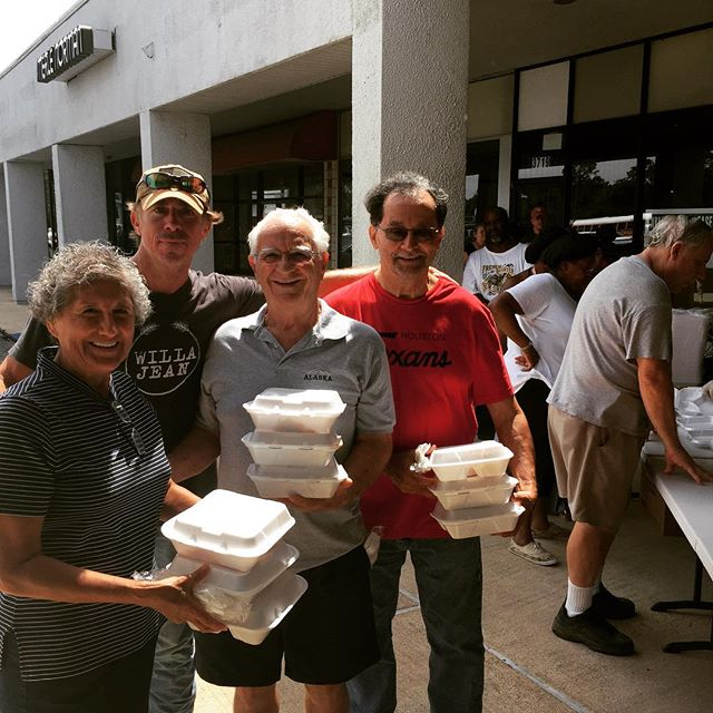 After losing everything they own, being rescued by boat and now shipped off to parts unknown they blessed us with their kindness, grace and humility! We in turn were able to feed them their first hot meal in five days. #beshfoundation #orangetexas #underwater #fortunate #pleasepray