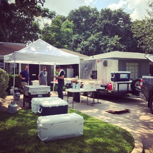 Make shift kitchen, cooking for 3500 today #houston #friends #foodislove #pleasepray