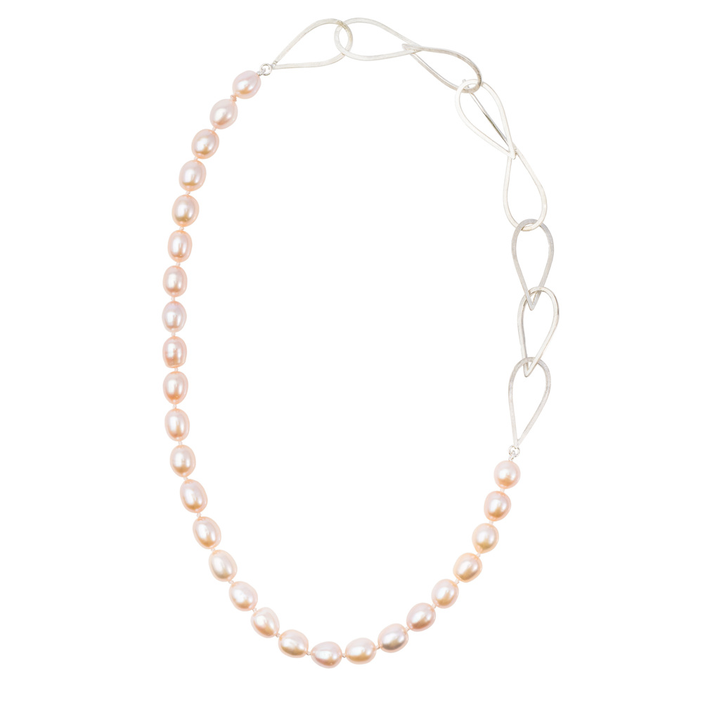 S/S Medium Waterdrop & Pearl Necklace