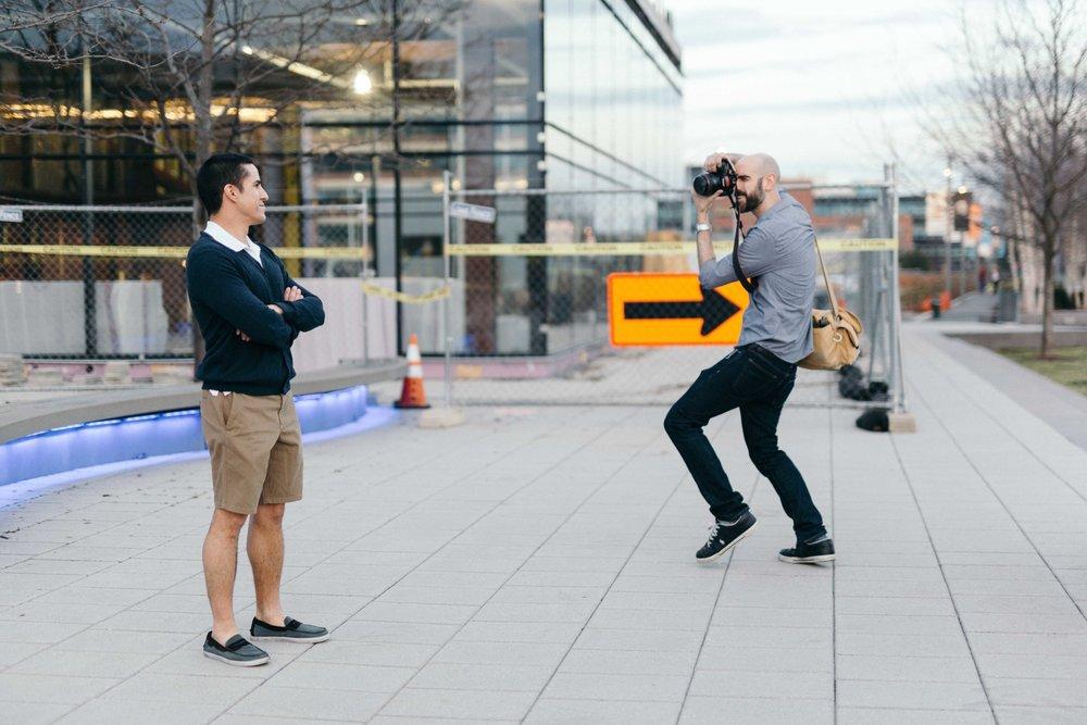 Fancy footwork helps build rapport between photographer and subject.