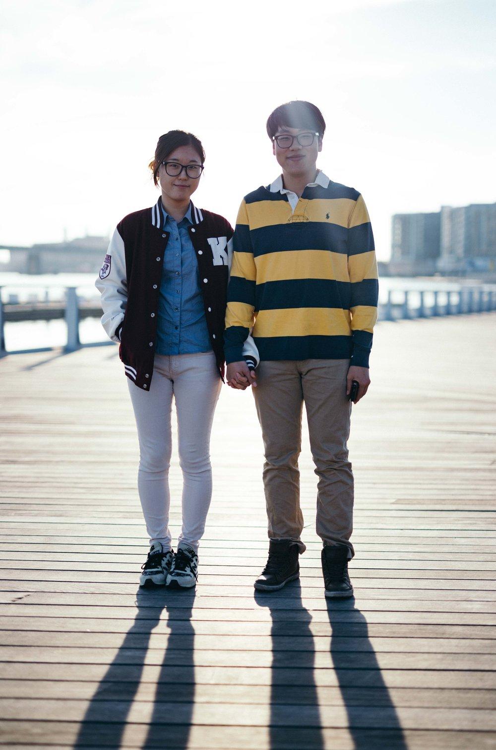 Street portrait of a Korean couple