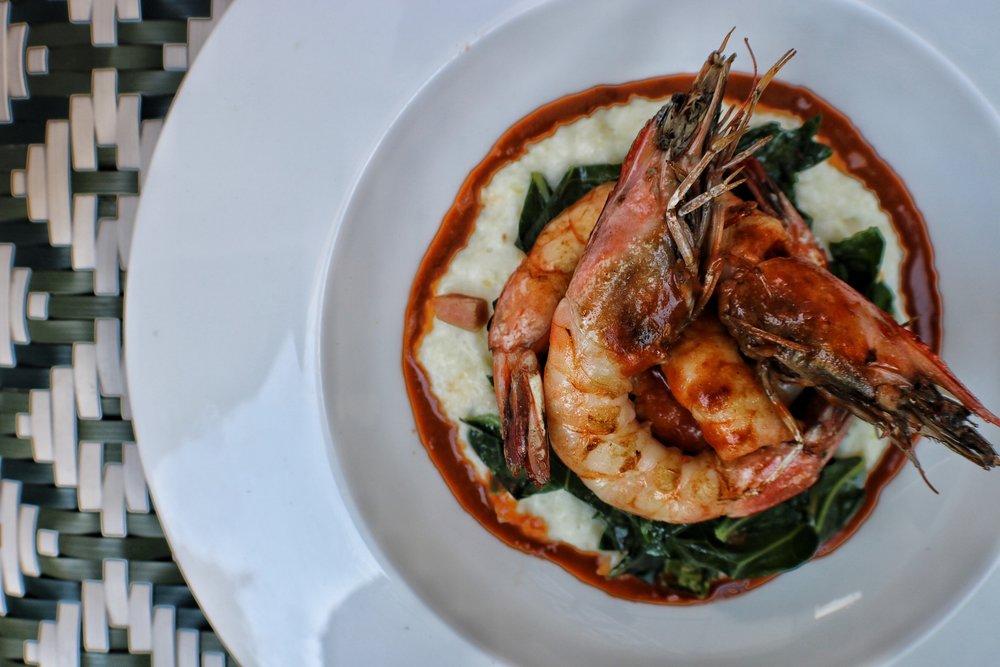 BBQ Shrimp & Grits   ham hocked collard greens