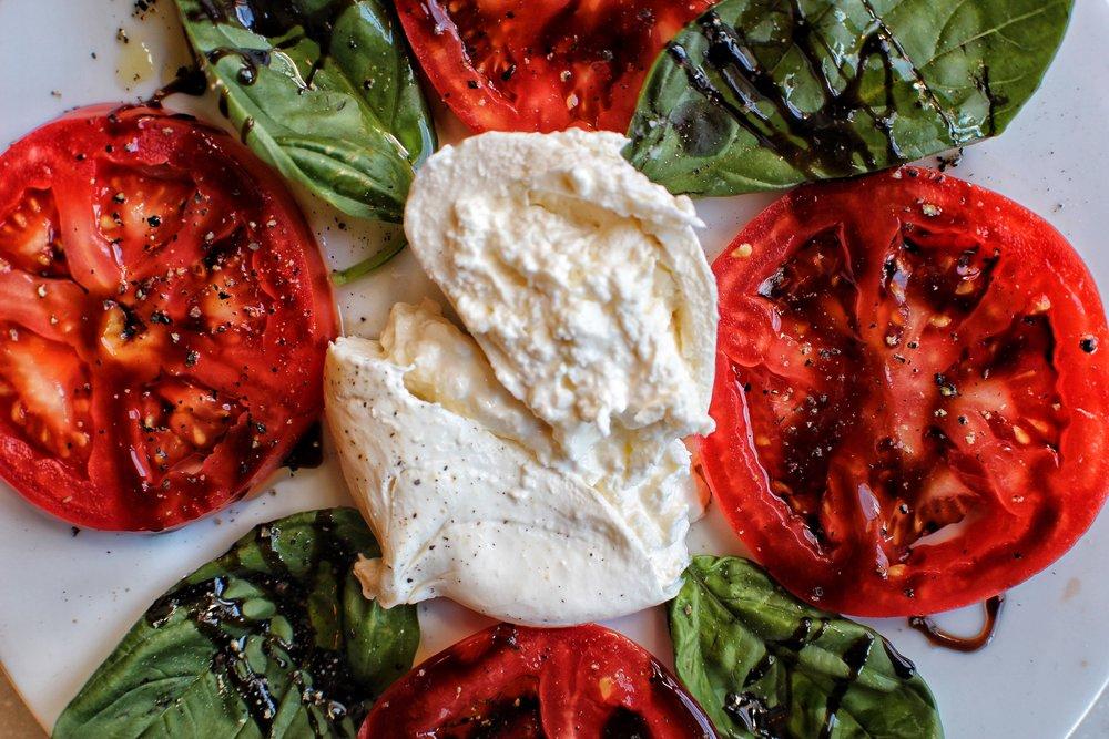 Burrata - beefsteak tomatoes & basil