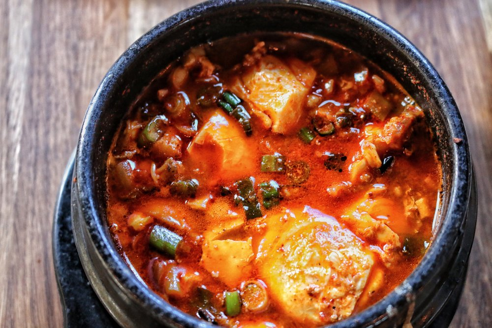 stone pot rice casserole with choice of base spicy seafood tofu stew