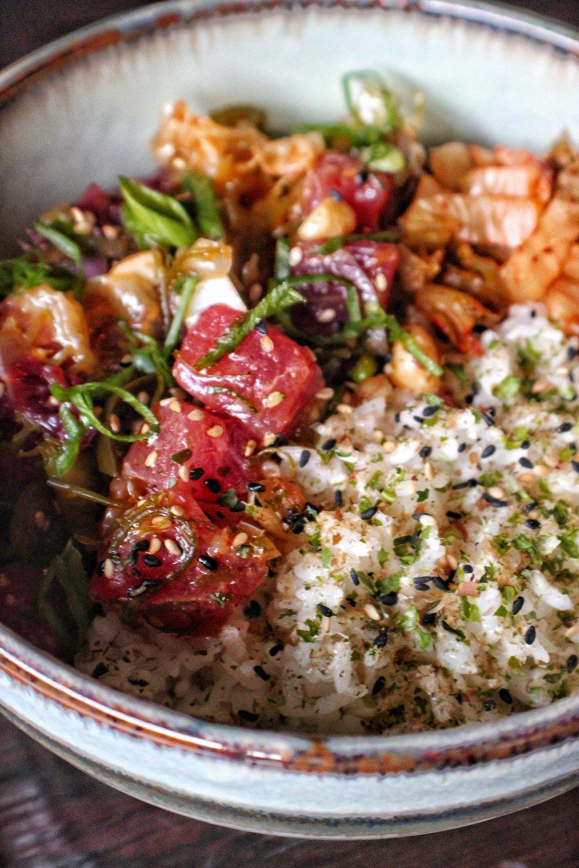 big-eye tuna poke bowl  macadamia nut, pickled jalapeño, rice, kimchi