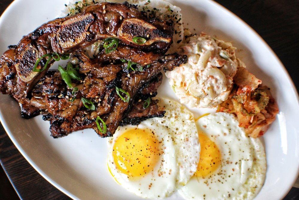 galbi  fried eggs, mac salad, kimchi, rice