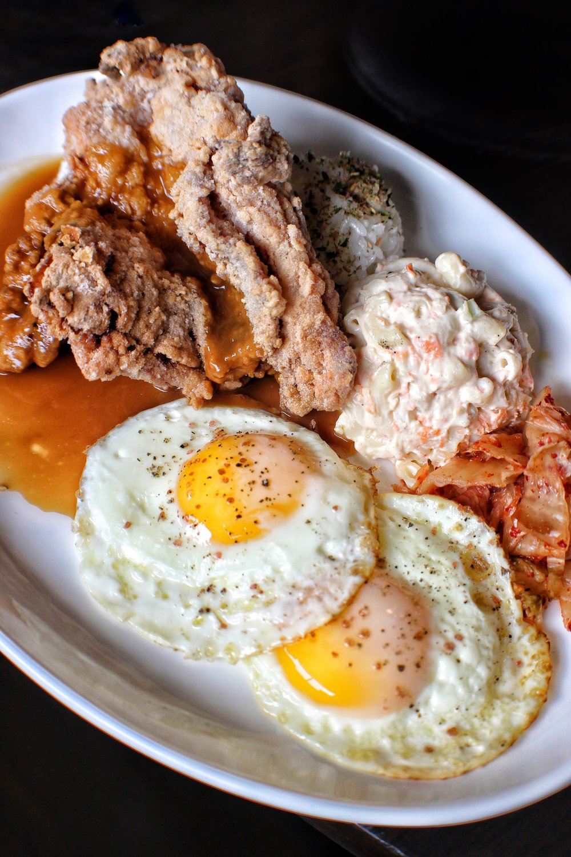 mochiko chicken loco moco  gravy, fried eggs, mac salad
