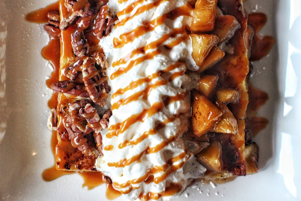 king's hawaiian french toast  caramelized apples, pecans, chantilly cream