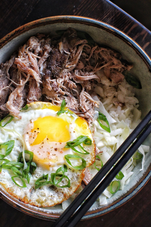 kalua pork bowl  fried egg, pickled cabbage, rice