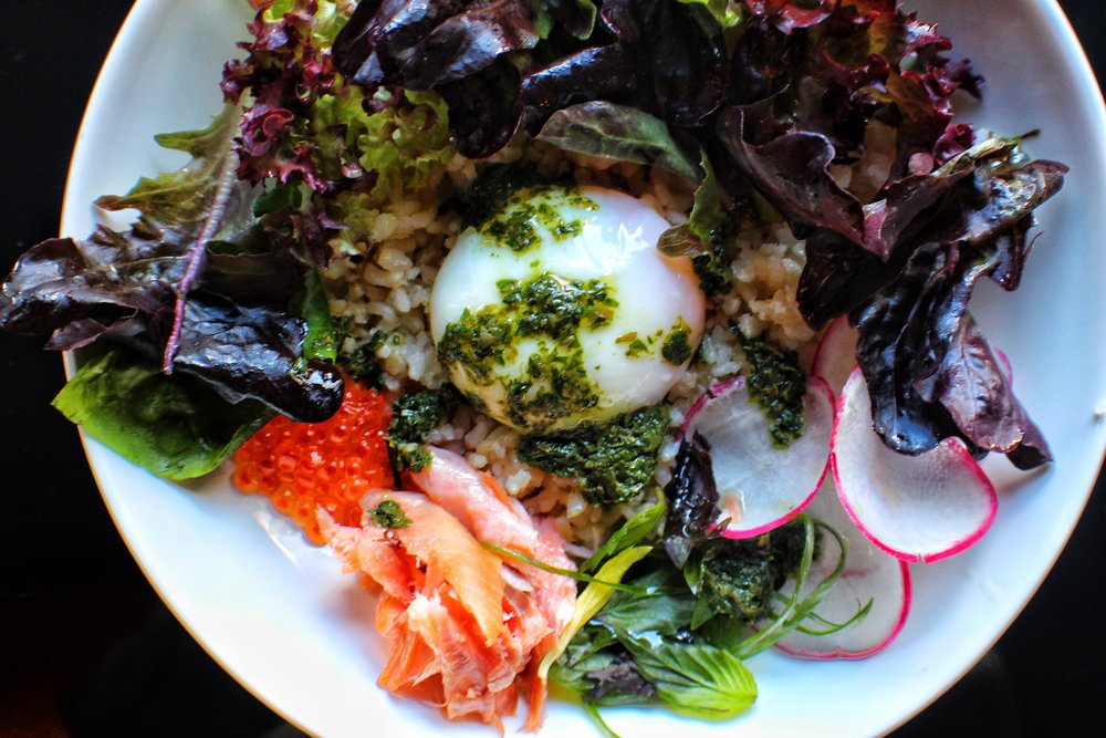Breakfast Bowl  Mixed Greens, Poached Egg, Smoked Trout, Radish