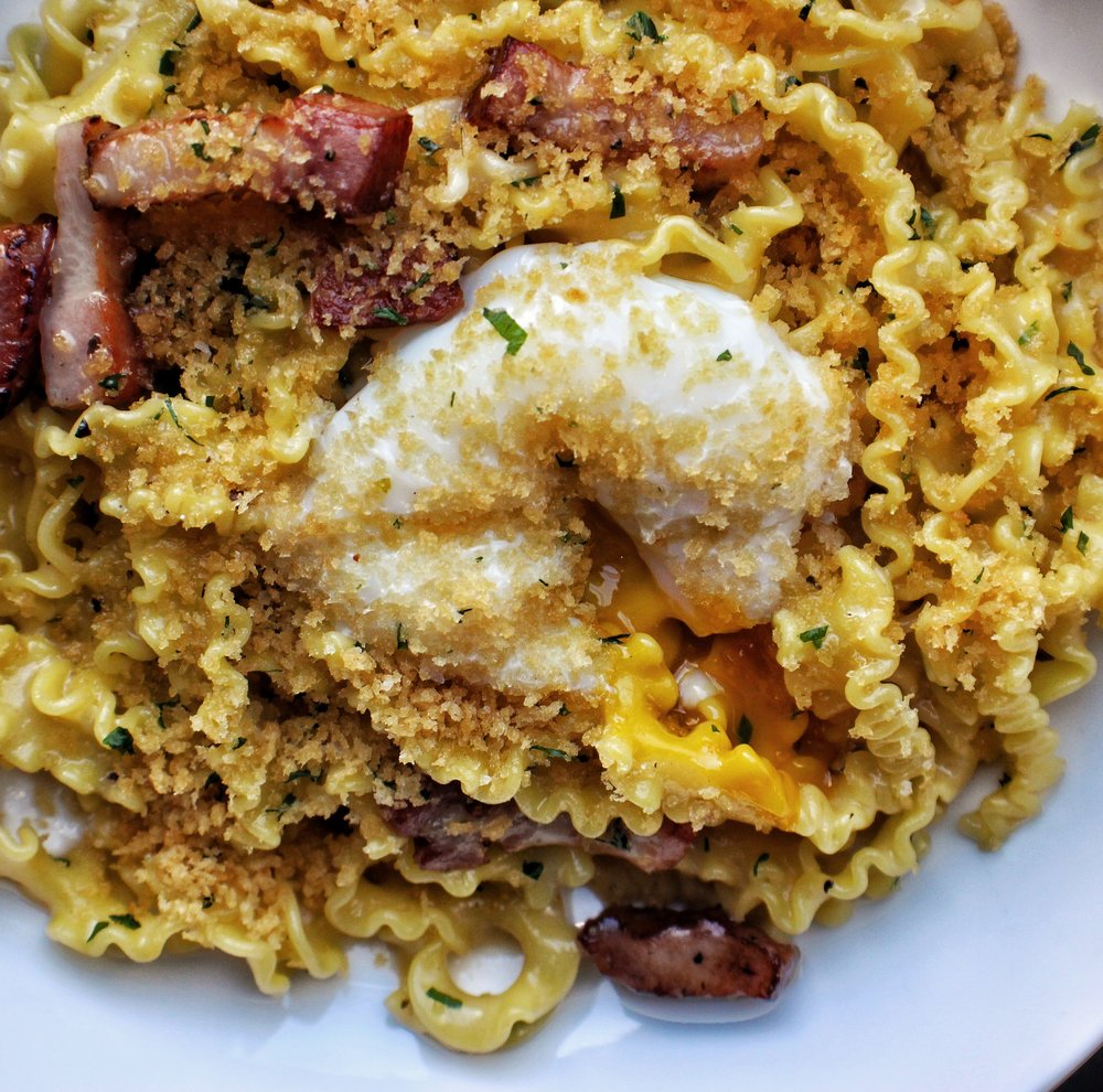 Maffalde Carbonara  Bacon, Parmesan, Poached Egg