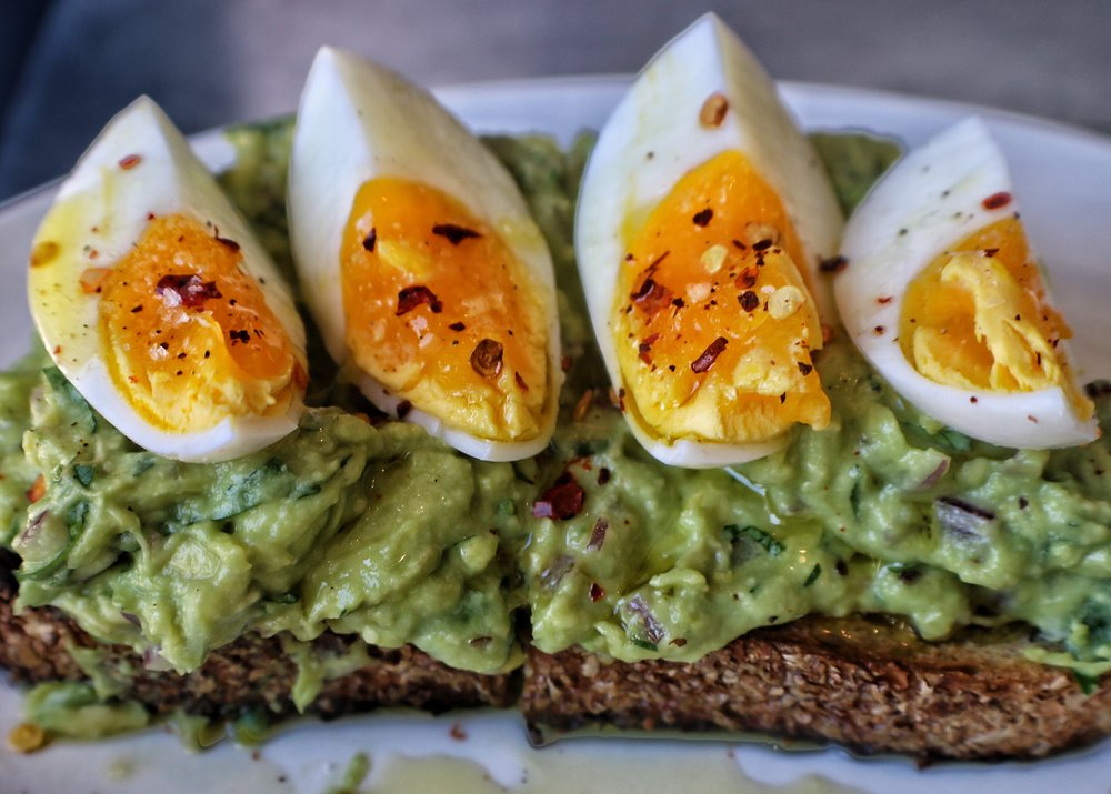 bruschetta of egg, avocado