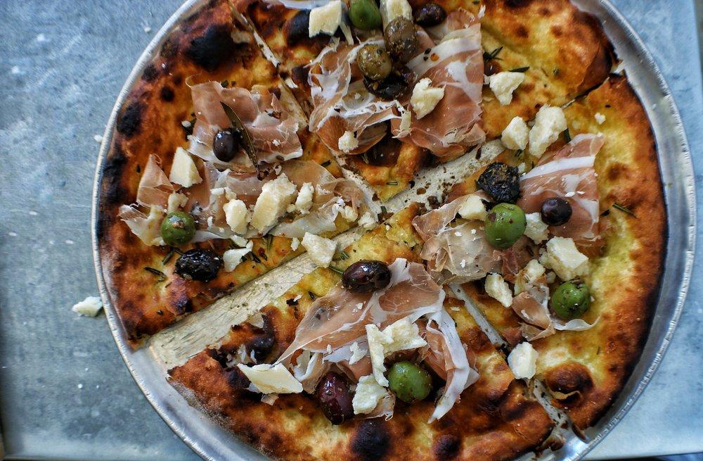 prosciutto, rosemary flatbread, parmigiano reggiano, olives