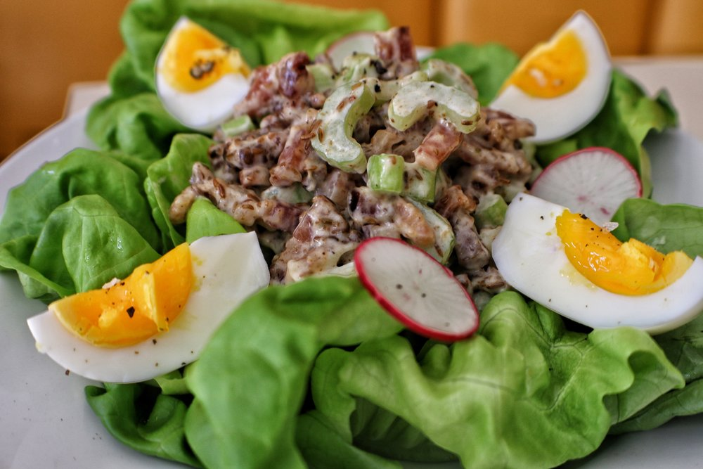 celery salad Bibb lettuce & cumin bacon dressing & a boiled egg.