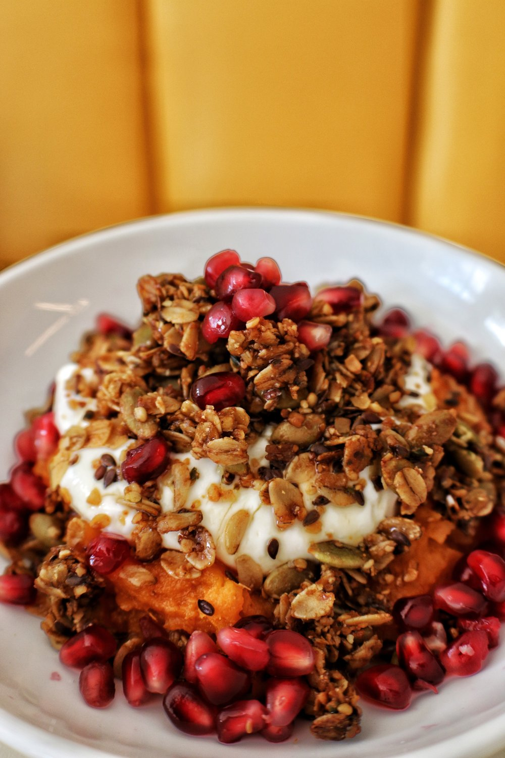 Roasted yam & granola, Flax, millet, quinoa, pumpkin seeds & Greek Yogurt
