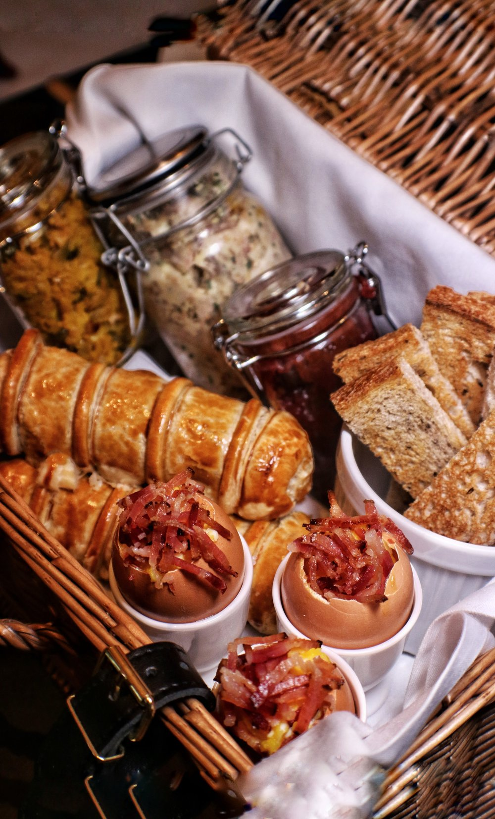 """Pignic Basket"" sausage roll, ham hock, eggs and soldiers, piccalilli 3"