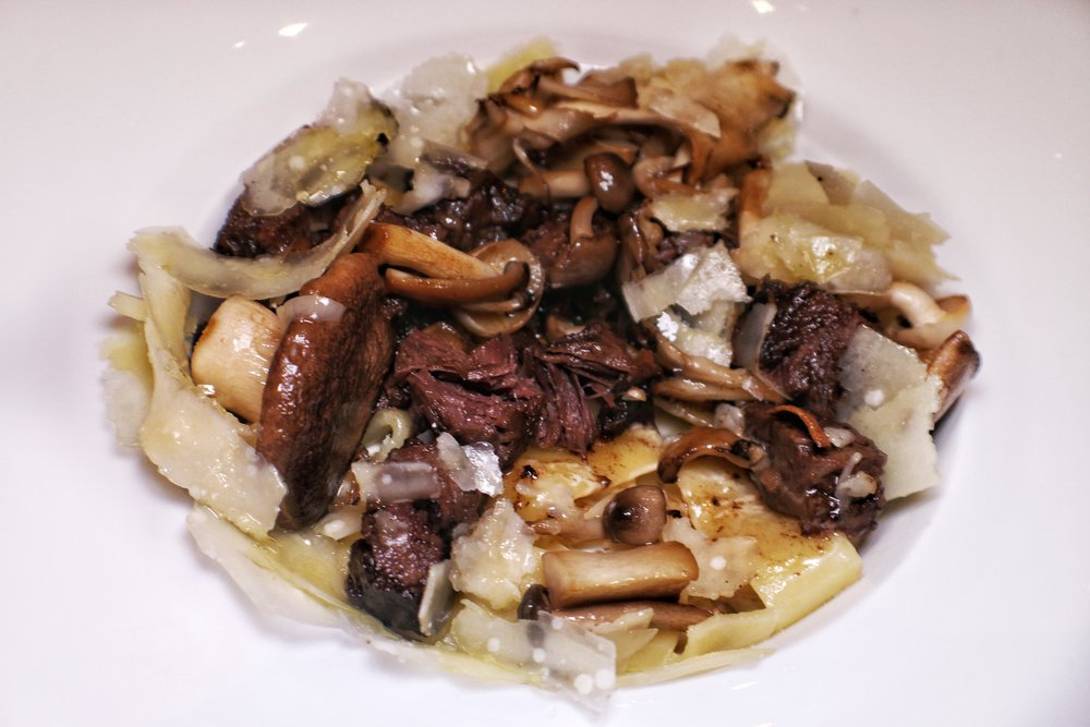 Macaroni and cheese, wild mushrooms, slow-cooked ox cheek