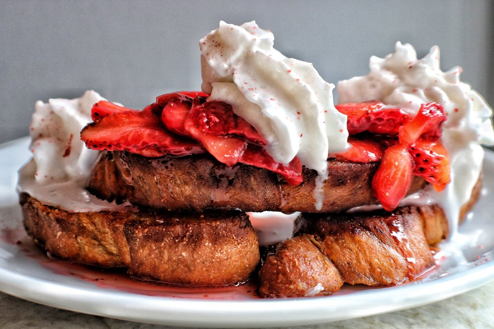 Challah French Toast  strawberry compote, strawberry powder, coconut whip, maple syrup