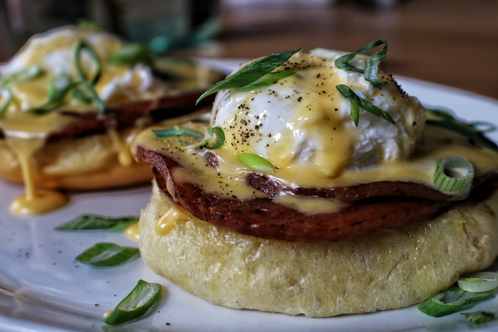 pork roll eggs benedict with hollandaise