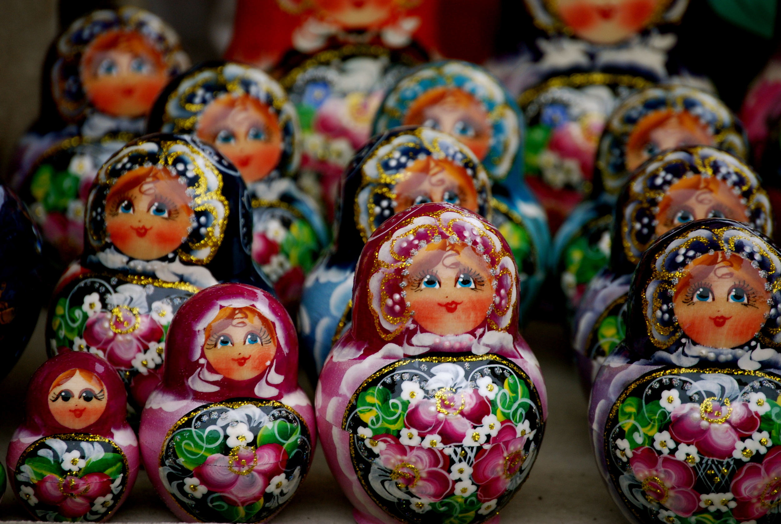 Matryoshka (nesting) dolls at a St. Petersburg market