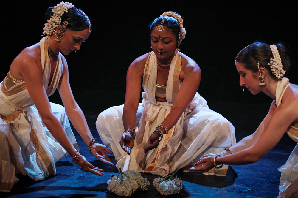 Tejas Luminous  with Tatyana Popova, Kadhambari Sridhar, and Kumari Mayshark. Choreography by Malini Srinivasan | Fringe NYC, 2014 | Photo: Julieta Cervantes