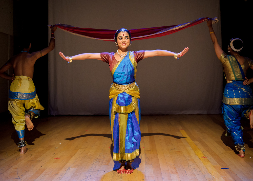 Being Becoming  at the 2012 New York International Fringe Festival,  Choreography by Malini Srinivasan, dance by Kadhambari Sridhar, Malini Srinivasan and Umesh Venkatesan. Direction by Josh Penzell  | Photo: Ian Douglas