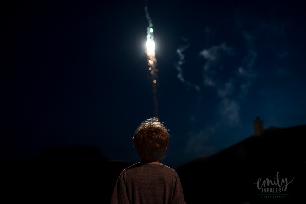 Jackson watching the fireworks.