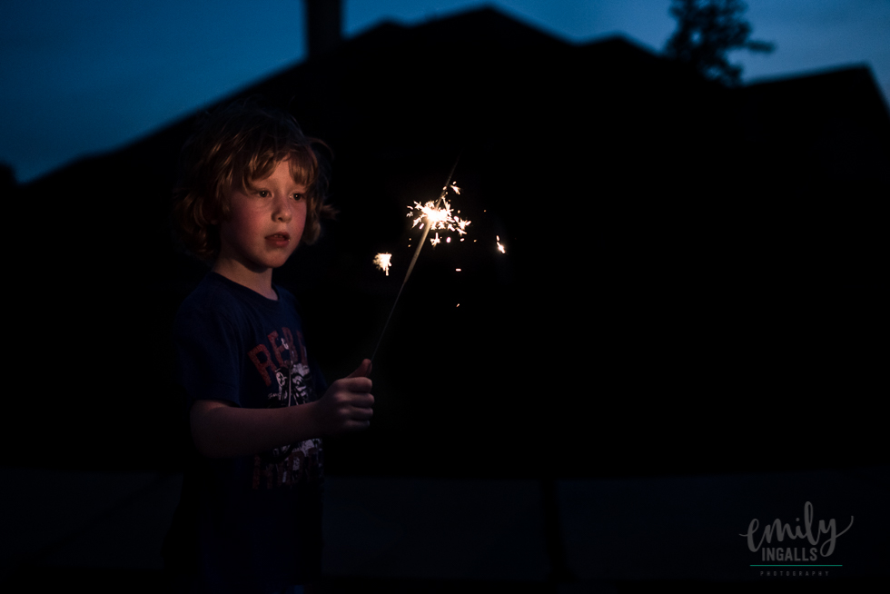 Cullen and his first sparkler!
