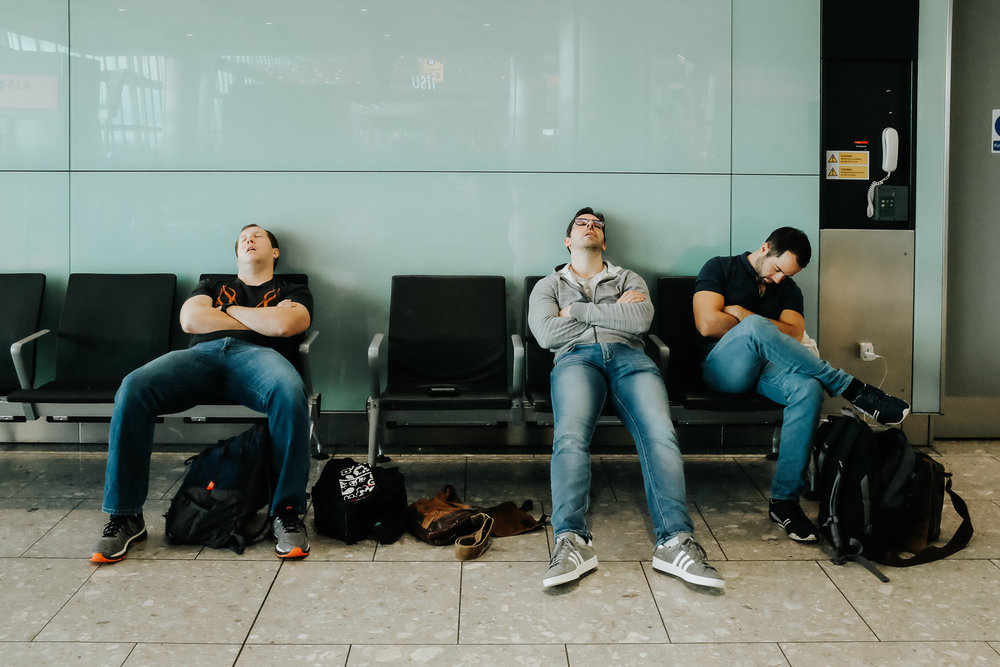 The flight to England and subsequent layover at Heathrow took it out of these three.