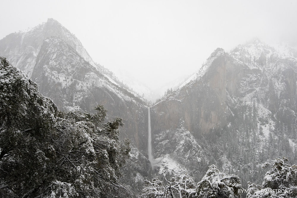 Centered Falls in Winter Yosemite · Photography by Maike Armstrong