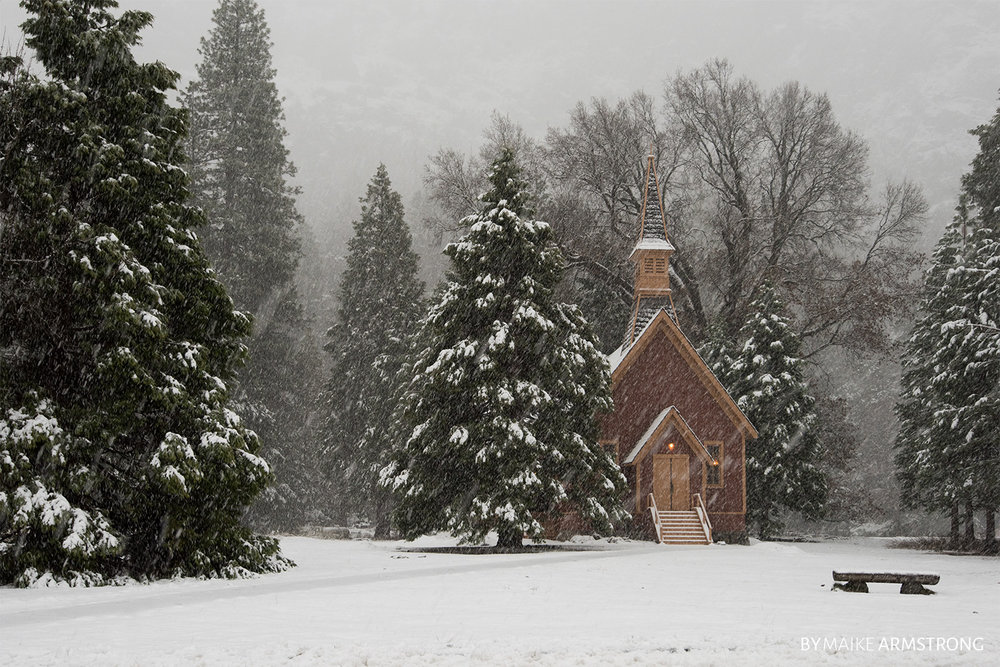 Yosemite Valley Chapel in Winter · Photography by Maike Armstrong