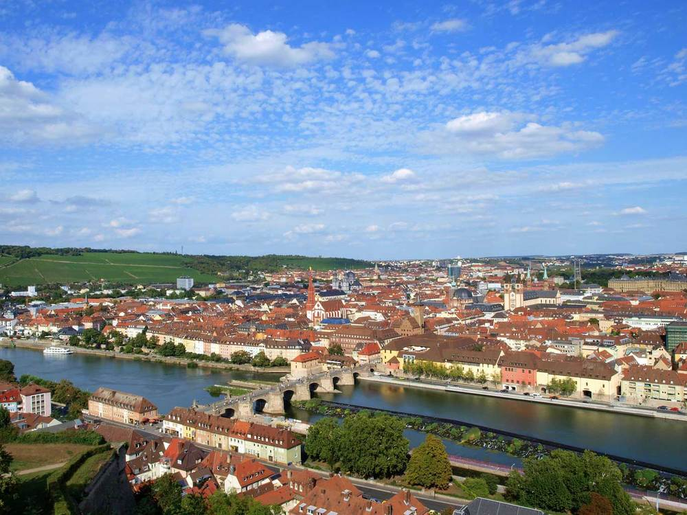 The historic city center of  Würzburg  with its countless steeples and spires