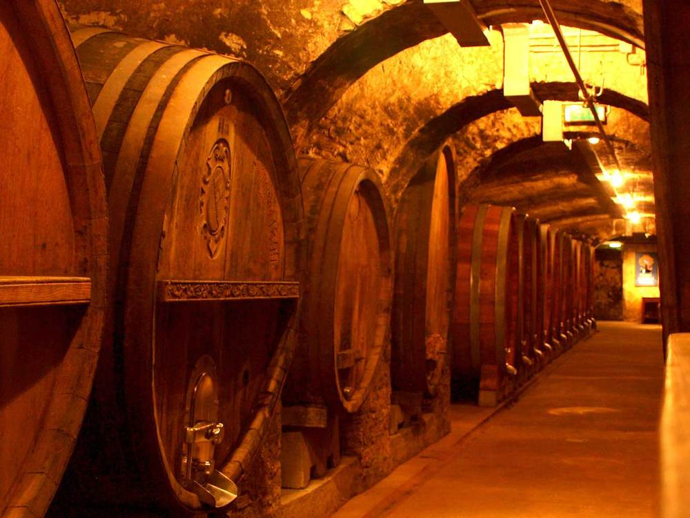 Wooden barrels in the historic cellar of the  Juliusspital  estate